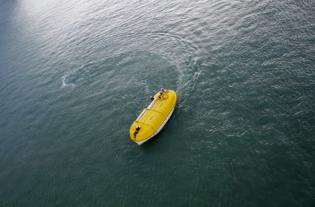 Life boat during a simulated emergency procedure Stock Photo