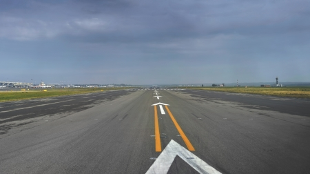 Cockpit View of the Runway just before takeoff Stock Photo
