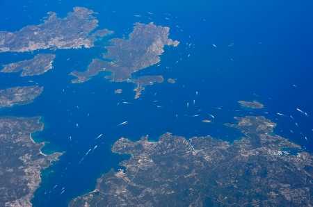 Many wakes of boats on a summer day in northern Sardinia Stock Photo