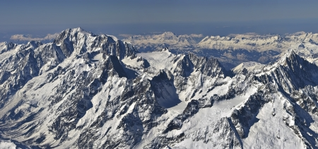 Range of the Mont Blanc view from the plane