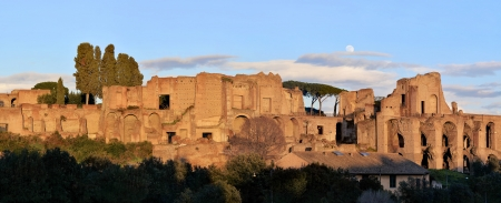Ruins of Palatine hill in Rome at sunset