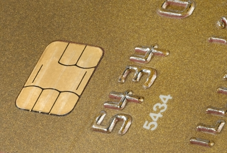 Gold credit card close up view Stock Photo
