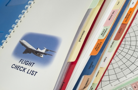 procedure: Flight check list for aircraft emergency procedure Stock Photo