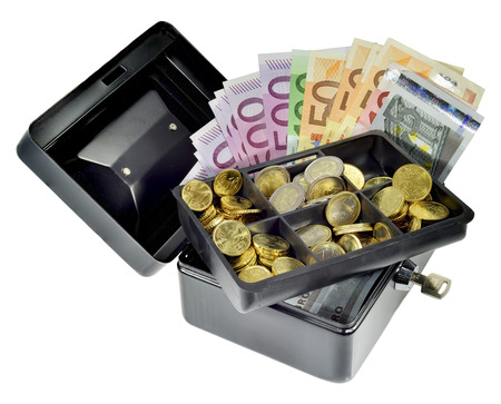 Euro notes and coins in a security money box Stock Photo
