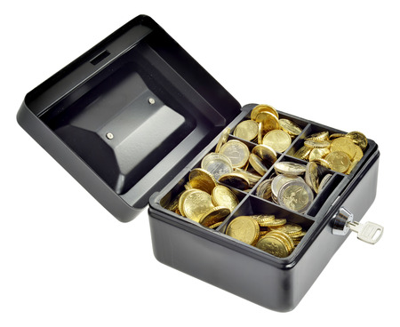 Euro coins in a security money box