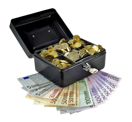 Euro coins in a security money box with bill outside