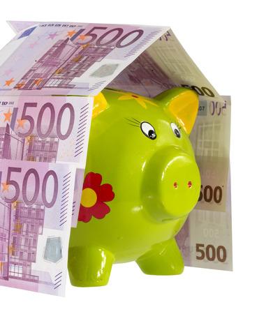 Piggy bank inside a money home