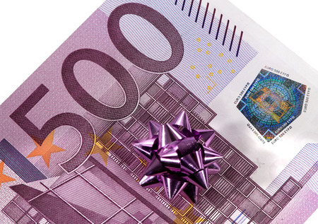 500 euro banknote used as gift Stock Photo