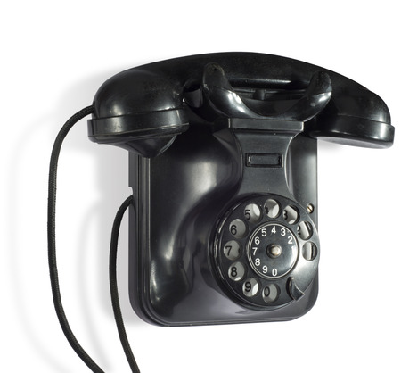 Black old wall telephone