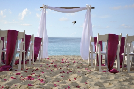 Tropical settings for a wedding on a beach photo