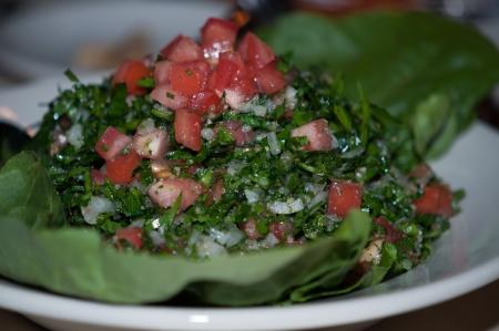 tabbouleh: Tabbouleh salad macro texture background Stock Photo