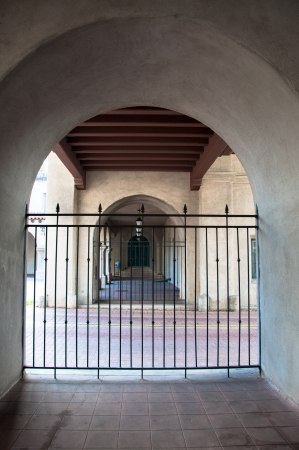 Arched old hallway in San Diego Park