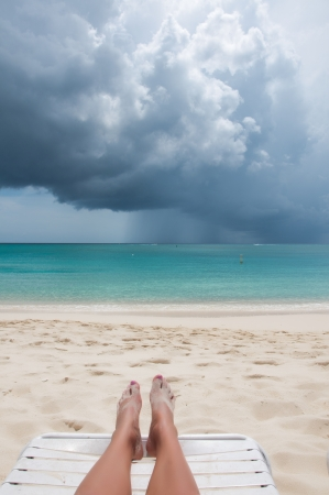 Gorgeous Tropical White Sand Beach in the summer with storm coming