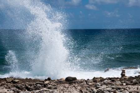 blow hole: Blow holes in rocks on the ocean shore