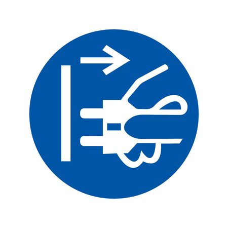 Disconnect Mains Plug From Electrical Outlet Symbol, Vector Illustration, Isolate White Background Icon.  イラスト・ベクター素材