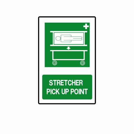 Stretcher Pick Up Point Symbol Sign, Isolate On White Background Icon.