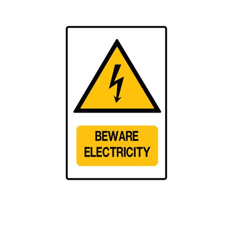 Beware Electricity Symbol Sign,Vector Illustration, Isolated On White Background Label.