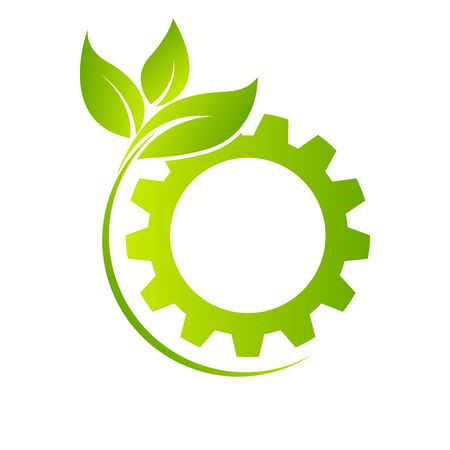 Eco city concept with gear stock vector