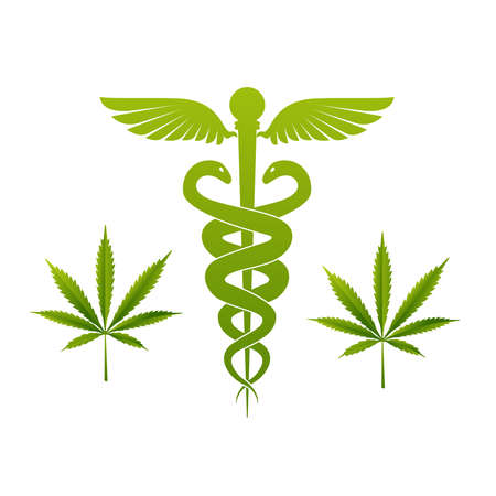 Design of medical cannabis dark background, vector Illustration