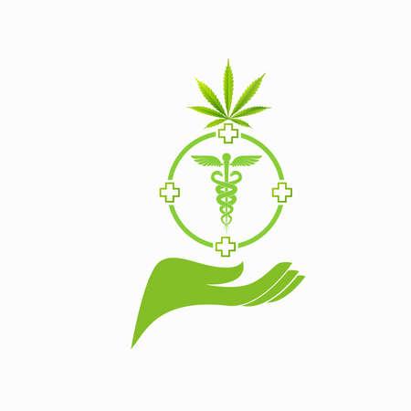 Design of medical cannabis dark background, vector Vecteurs