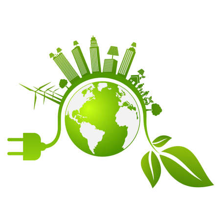 Banner design elements for sustainable energy development, Environmental and Ecology concept, Vector illustration