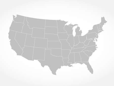 United States of America gray map