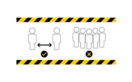 Social distancing. Keep the 1-2 meter distance. Coronovirus epidemic protective. Vector illustration 矢量图像