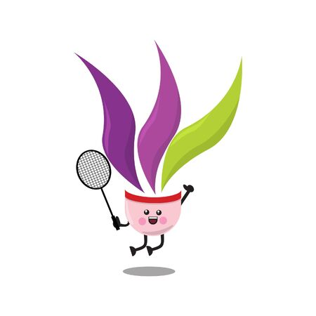 Vector Illustration of cute shuttlecock character jumping with trophy. Jump smash. Very suitable for badminton tournament mascot and badminton poster. Vettoriali