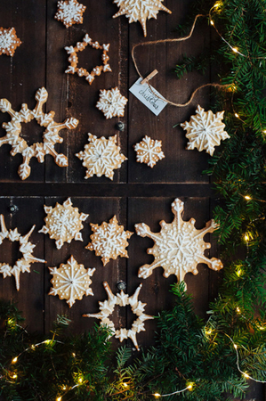 Cookies in the shape of Christmas snowflakes