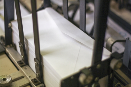 letter envelope: envelopes in mail sorter ready for postage