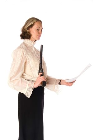 resolute: Resolute woman with gun and papers: she kill all business rivals and win contract!