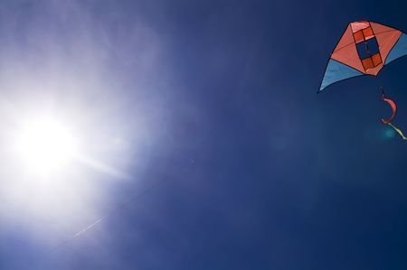 Kite in the blue sky (summer background) Stock Photo - 3678341