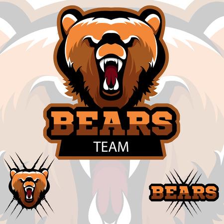 A modern sports logo. Talisman of the team bears. Three options