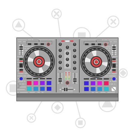 Dj mixer controller. Flat line art illustration.