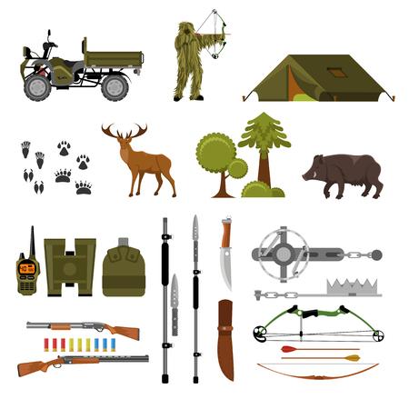 Hunting elements set. Flat vector kit