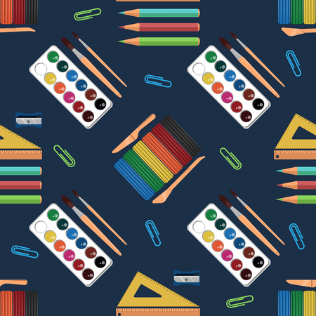Education seamless pattern. Background for school and creative subjects
