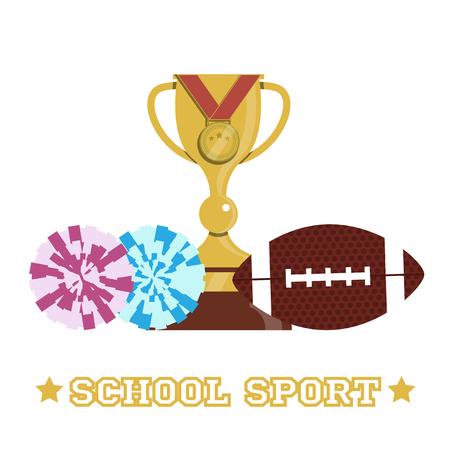 Basic school sport elements pile.