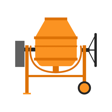 Isolated concrete mixer icon in a flat style.