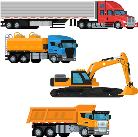 Flat vector set on an isolated background of trucks and construction vehicles in perspective. Truck, excavator, fuel truck, dump truck.