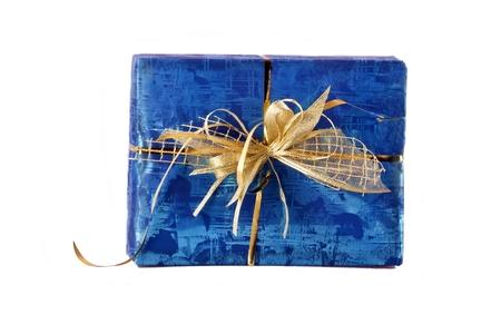 Blauw aanwezig doos geà ¯ soleerd op witte achtergrond.