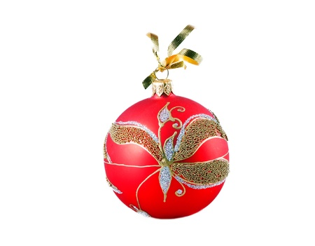 Ornate christmas ball isolated iver white background