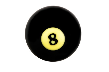 Black billiard ball over white background . photo