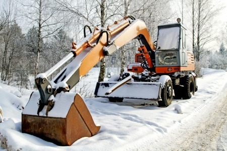 picture of excavator on a winter day Stock Photo
