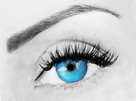 ojo azul con tupidas pestañas y cejas cerca de imagen Foto de archivo