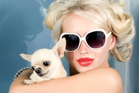 pretty woman in sunglasses with small chihuahua in hands photo