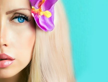 beautiful face with blue eyes part of face  Stock Photo