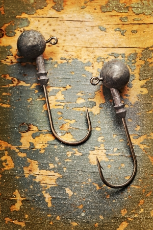 bass fish: fishhooks close up vertical picture