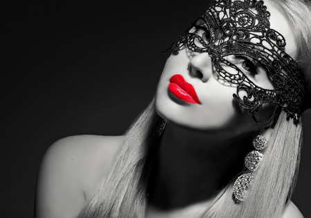 classy lady with red lips black and white portrait photo