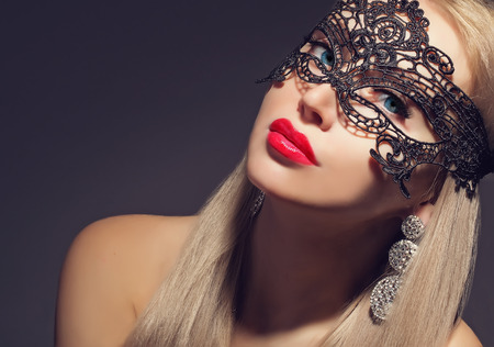 gorgeous woman in carnival mask  Stock Photo