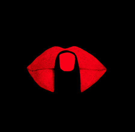 finger on red lips at black background Stock Photo